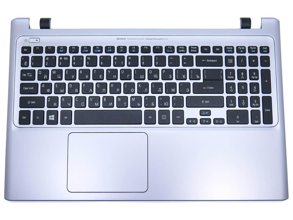 Клавиатура для ноутбука Acer Aspire V5-551, V5-551G ( RU Black с крышкой Silver и подсветкой)