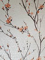 Обои виниловые на флизелине Ugepa L48295D Jardin Secret метровые молочный фон коричневые ветки красные цветы
