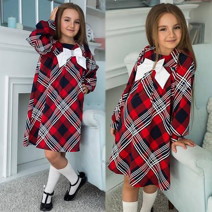 """Детское трикотажное школьное платье """"Бант"""" с бантом и длинным рукавом (3 цвета), фото 2"""