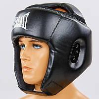 Шлем боксерский открытый с усиленной защитой макушки PU ELAST BO-8268-BK (р-р S-XL, черный)
