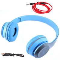Наушники беспроводные Bluetooth гарнитура P47 MicroSD, голубые