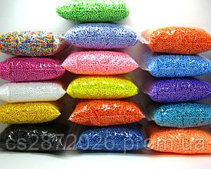 Шарики пенопластовые 2-4 мм,1000 мл, разные цвета, для слаймов и декора.