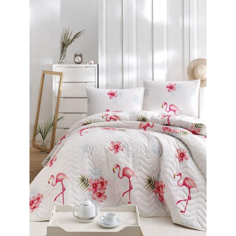 Покрывало 200х220 с наволочками на кровать, диван Фламинго кремовый