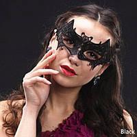 Ажурная кружевная маска черная Летучая мышь. Аксессуар к карнавальному костюму на Хэллоуин