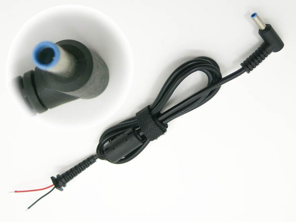 DC кабель HP (4.5*3.0+Pin) Blue 45W-90W, 2 - провода От блока питания к ноутбуку. Кабель с ферритовым фильтром