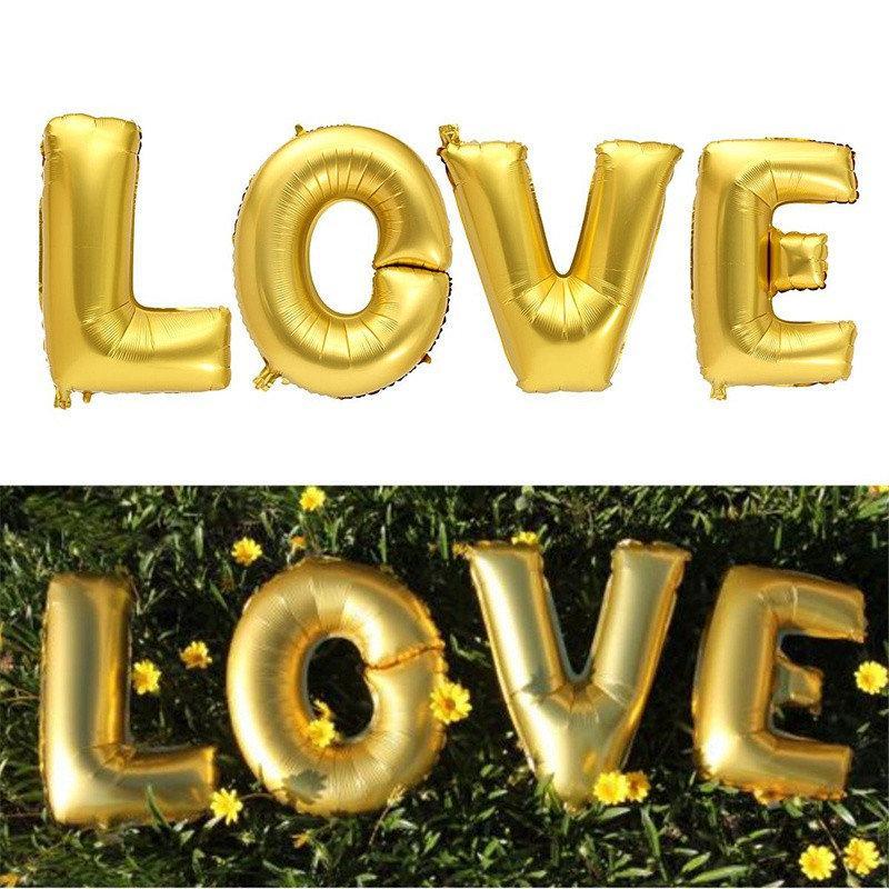 Фольгированный воздушный шар LOVE  80 см Золото