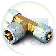 Тройник Т-образный для термопластиковой трубки D6xD6xD6