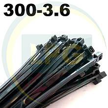 Кабельные стяжки 300х3,6 мм черные (упаковка 100 штук)