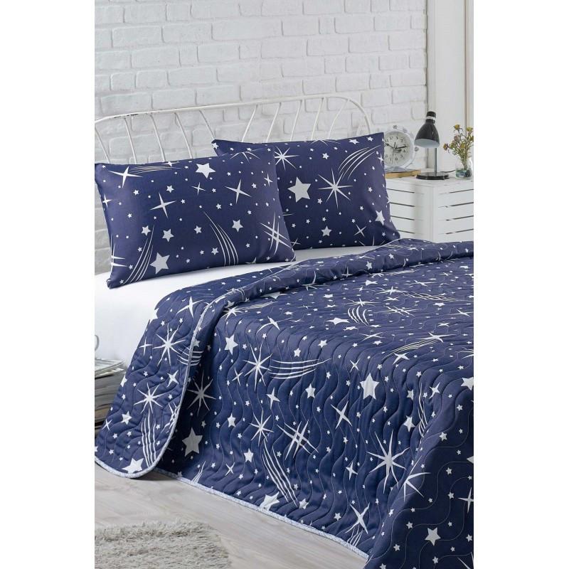 Покрывало 200х220 с наволочками на кровать, диван Галлея синяя