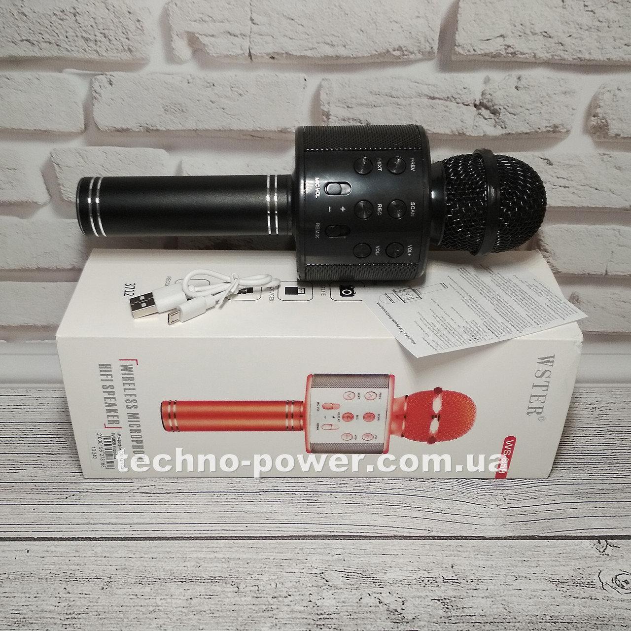 Караоке-микрофон bluetooth WS858. Портативный блютуз караоке микрофон