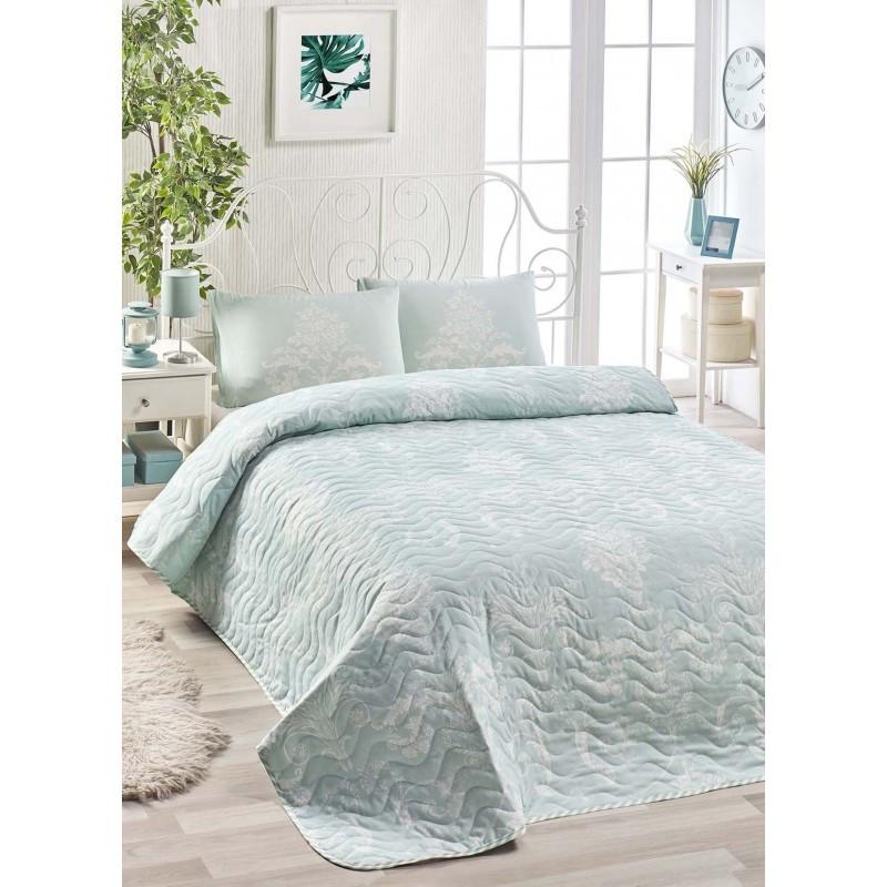 Покрывало 200х220 с наволочками на кровать, диван Королевская мята