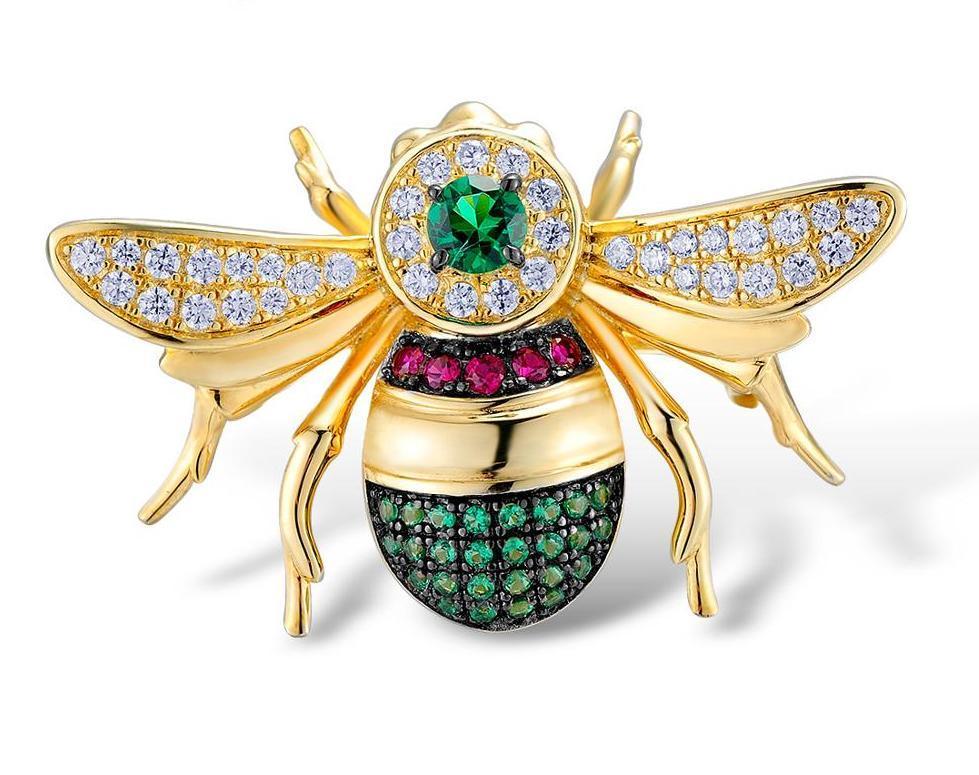 Серебряная брошь Пчелка