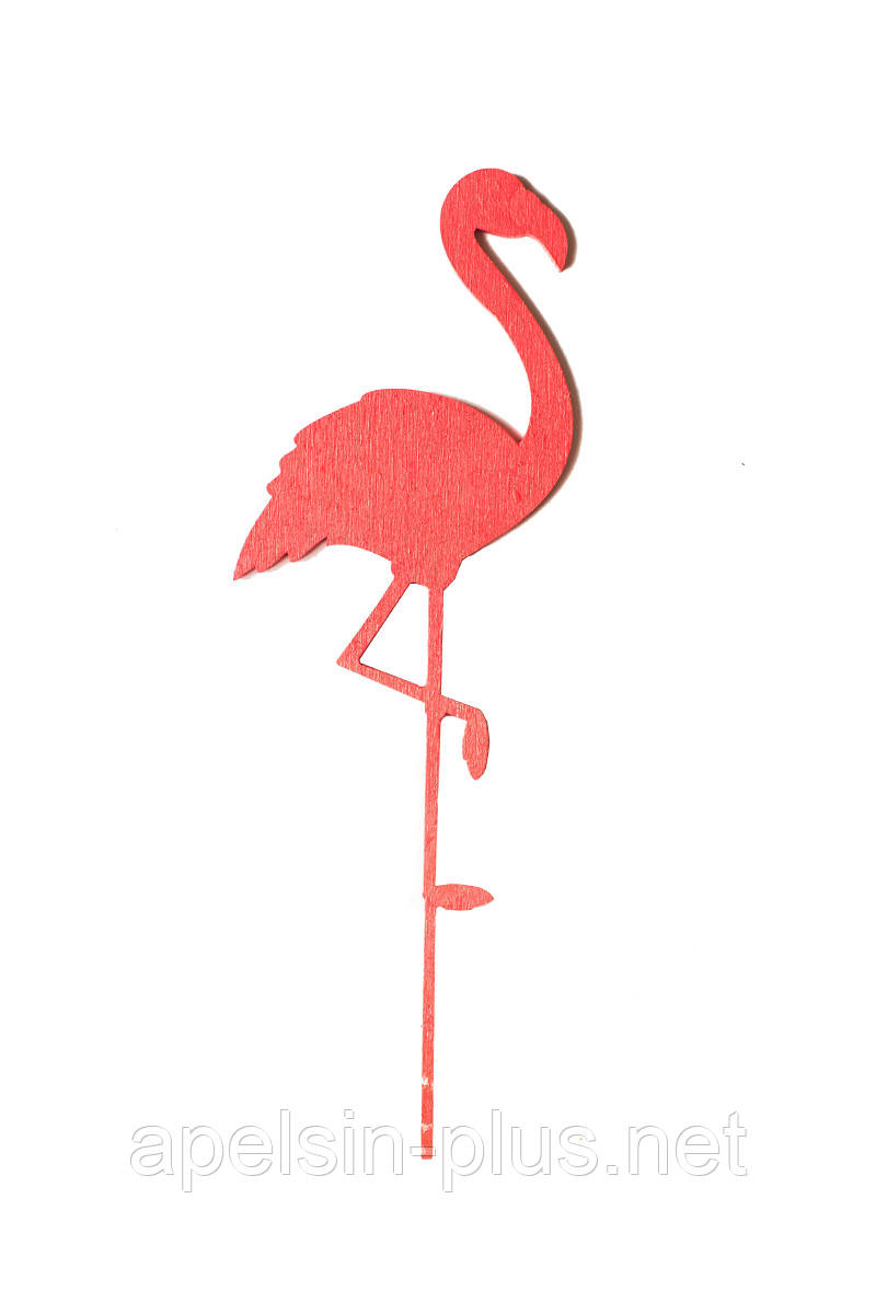 Топпер для тортов Розовый Фламинго деревянный