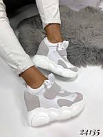 Кроссовки на высокой платформе белые с серым