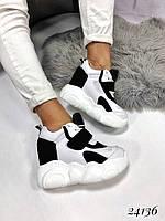 Кроссовки на высокой платформе белые с черным
