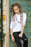 Рубашка блузка детская коттон удлиненная сзади белая и черная школьная форма рост:134-152 см, фото 5