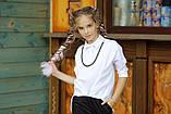 Рубашка блузка детская коттон удлиненная сзади белая и черная школьная форма рост:134-152 см, фото 7