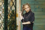 Рубашка блузка детская коттон удлиненная сзади белая и черная школьная форма рост:134-152 см, фото 3
