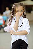 Рубашка блузка детская коттон удлиненная сзади белая и черная школьная форма рост:134-152 см, фото 8