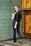 Рубашка блузка детская коттон удлиненная сзади белая и черная школьная форма рост:134-152 см, фото 4