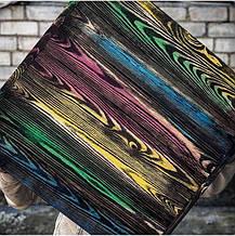 Деревянный фотофон Черная тонировка с разноцветной стариной