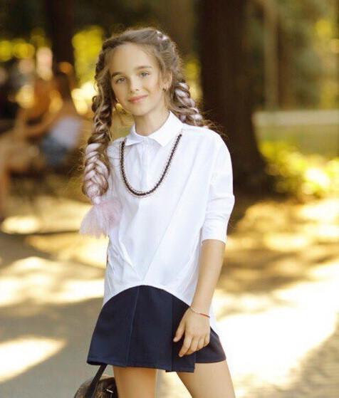 Рубашка блузка детская коттон удлиненная сзади белая и черная школьная форма рост:134-152 см