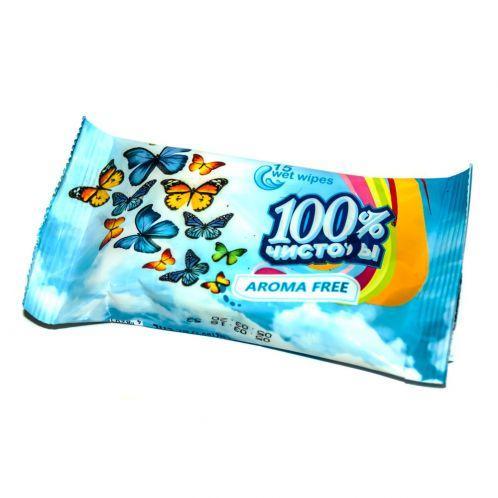 Вологі серветки 100% чистоти 15 шт