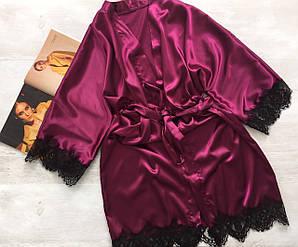 Женский атласный халат с поясом бордовый