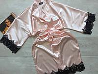 Женский атласный халат с поясом персиковый