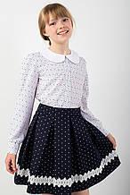 Красивая нарядная школьная блуза с оригинальным воротничком 122-140
