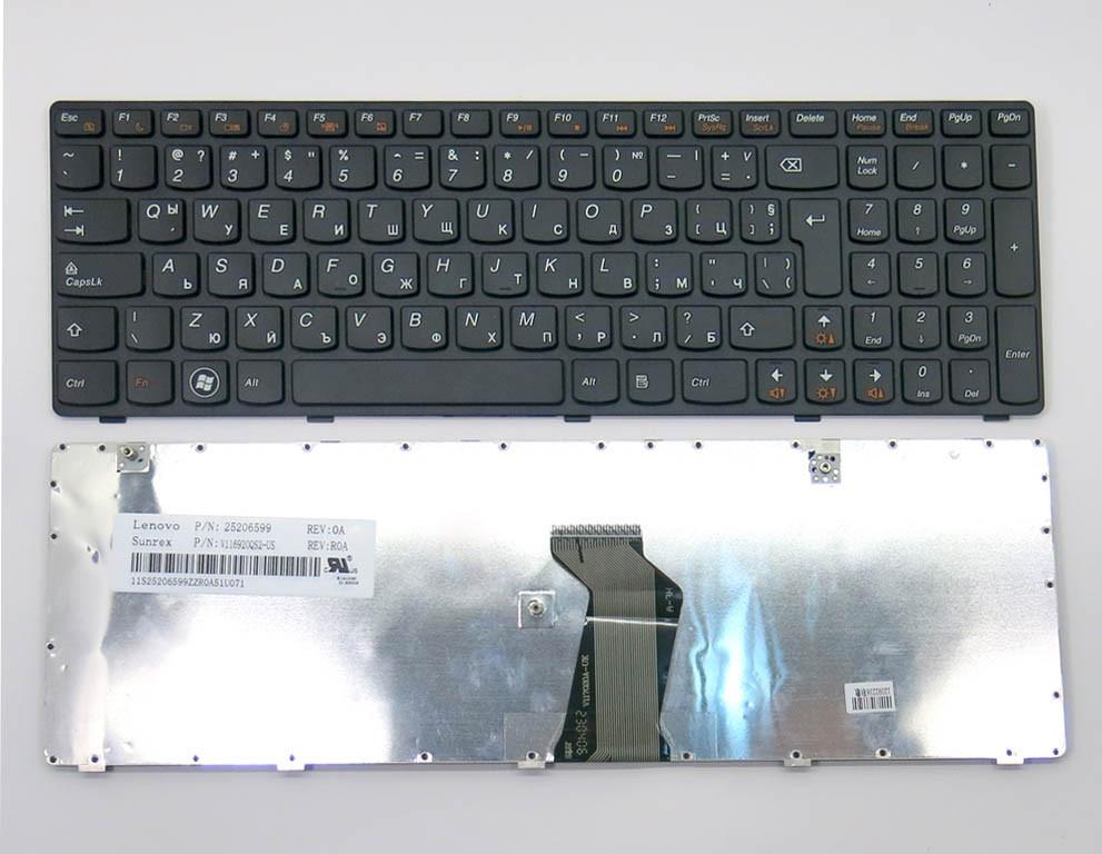 Клавиатура для ноутбука Lenovo IdeaPad Z580, G580, G585, Z580A, Z585 ( BG Black, Черная рамка) . Болгарская