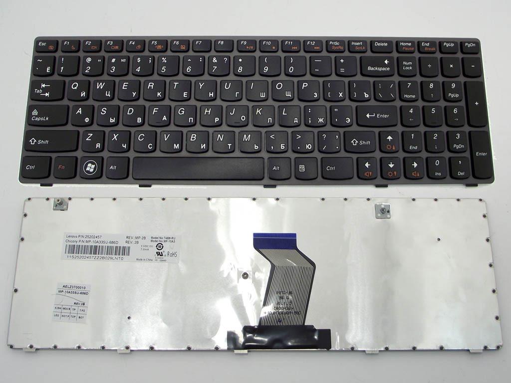 Клавиатура для ноутбука Lenovo IdeaPad Z580, G580, G585, Z580A, Z585 ( RU Black, серая рамка)