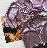 Женский атласный халат с поясом темная пудра