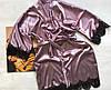Женский атласный халат с поясом темная пудра, фото 3