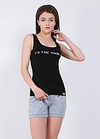 Майка женская с надписью 9171  Черный