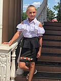 Детская школьная юбка с баской и вышивкой внизу черная и синяя подросток размер: 38, 40, 42, 44, фото 6