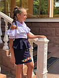 Детская школьная юбка с баской и вышивкой внизу черная и синяя подросток размер: 38, 40, 42, 44, фото 3
