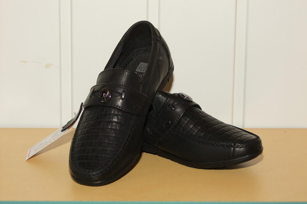 Туфли на мальчика 33,34,35,36 р черные на резинке Kangfu.