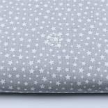 """Лоскут ткани """"Густая насыпь из звёзд разных размеров"""" белые на сером, коллекция Mini-mikro, №1887а,, фото 2"""