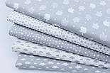 """Лоскут ткани """"Густая насыпь из звёзд разных размеров"""" белые на сером, коллекция Mini-mikro, №1887а,, фото 7"""