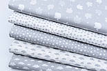 """Лоскут ткани """"Густая насыпь из звёзд разных размеров"""" белые на сером, коллекция Mini-mikro, №1887а,, фото 8"""