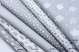 """Лоскут ткани """"Густая насыпь из звёзд разных размеров"""" белые на сером, коллекция Mini-mikro, №1887а,, фото 10"""