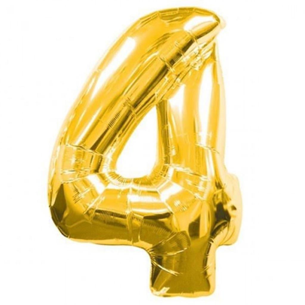 """Фольгированный воздушный шар Цифра """"4"""" 90 см Золото"""