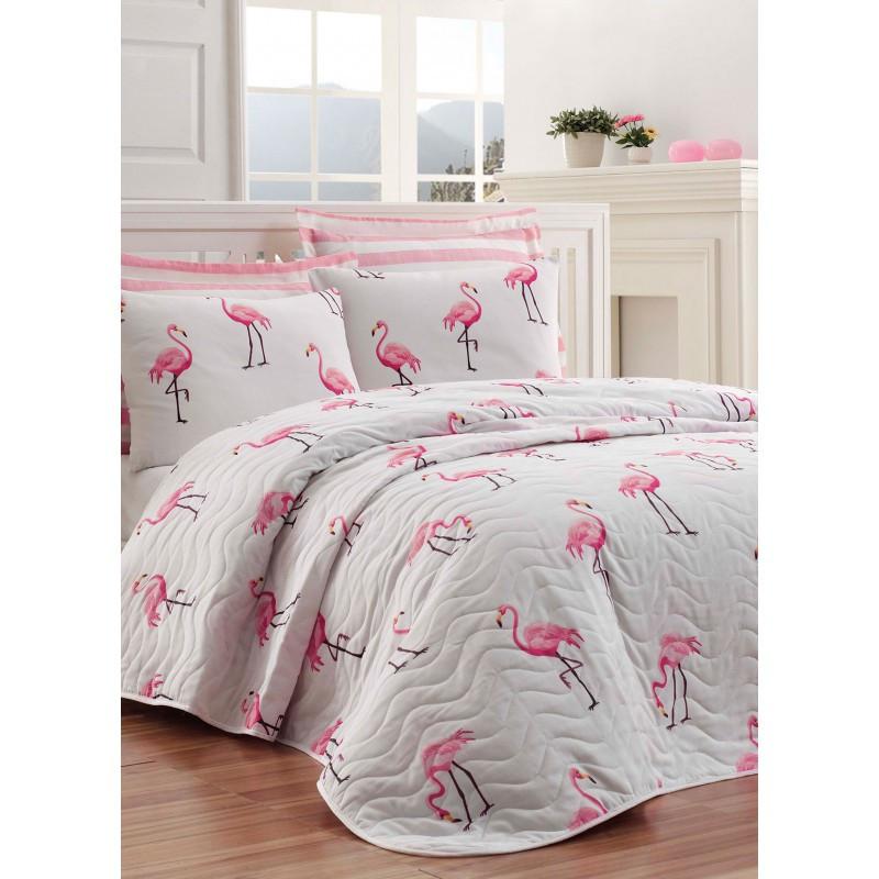 Покрывало 200х220 с наволочками на кровать, диван Фламинго