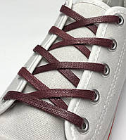 Шнурки с пропиткой плоские бордовые 60 см (Ширина 5 мм), фото 1