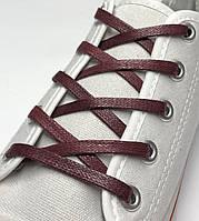 Шнурки с пропиткой плоские бордовые 120 см (Ширина 5 мм), фото 1