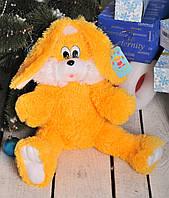 """Мягкая игрушка Зайчишка """" Снежок"""" желтый, высота 65 см"""