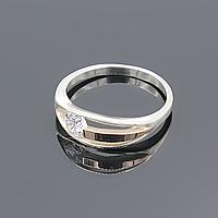 """Серебряное кольцо """"Идеал"""" с золотой пластиной"""