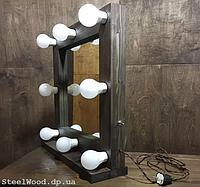 Гримерное зеркало с подсветкой из массива дерева