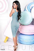 Красивое платье на лето ниже колен впереди регулируемый разрез приталенное без рукав голубой, фото 3